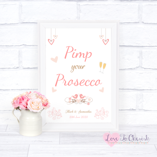 Pimp Your Prosecco Wedding Sign - Shabby Chic Hanging Hearts & Love Birds |