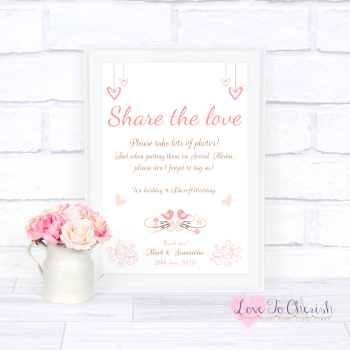 Shabby Chic Hanging Hearts & Love Birds - Share The Love - Photo Sharing - Wedding Sign