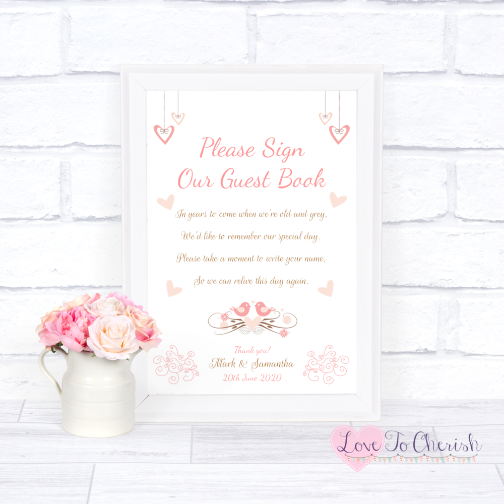 Sign Our Guest Book Wedding Sign - Shabby Chic Hanging Hearts & Love Birds