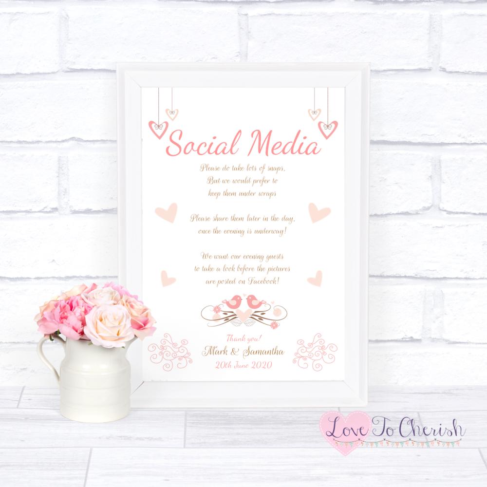 Social Media Wedding Sign - Shabby Chic Hanging Hearts & Love Birds | Love