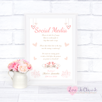 Shabby Chic Hanging Hearts & Love Birds - Social Media - Wedding Sign