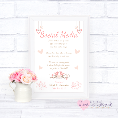 Social Media Wedding Sign - Shabby Chic Hanging Hearts & Love Birds | Love