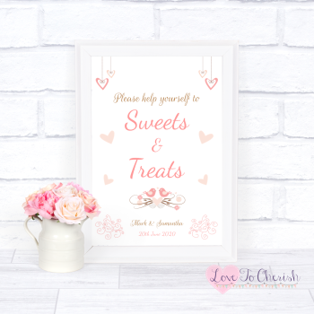 Shabby Chic Hanging Hearts & Love Birds - Sweets & Treats - Candy Table Wedding Sign