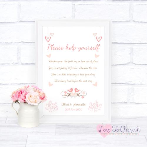 Toiletries/Bathroom Refresh Wedding Sign - Shabby Chic Hanging Hearts & Lov
