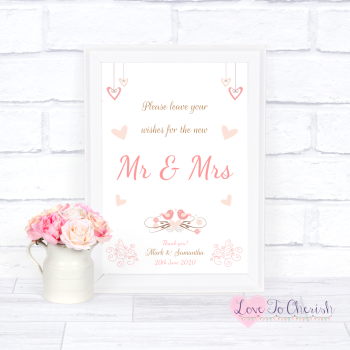 Shabby Chic Hanging Hearts & Love Birds - Wishes for the Mr & Mrs - Wedding Sign