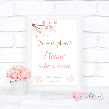 Shabby Chic Hearts & Love Birds in Tree - Love Is Sweet - Wedding Sign