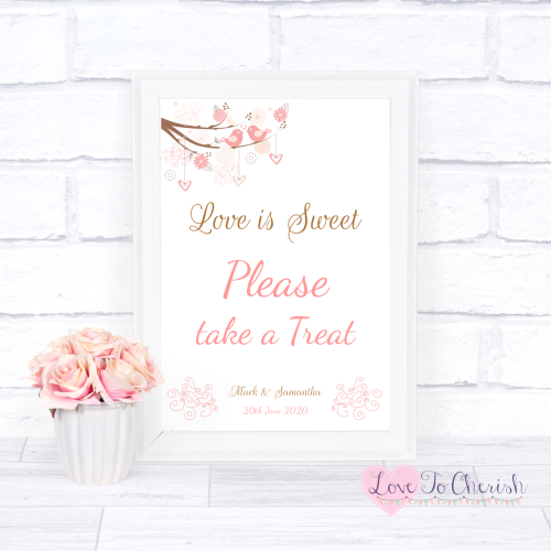 Love Is Sweet / Candy Table Wedding Sign - Shabby Chic Hearts & Love Birds