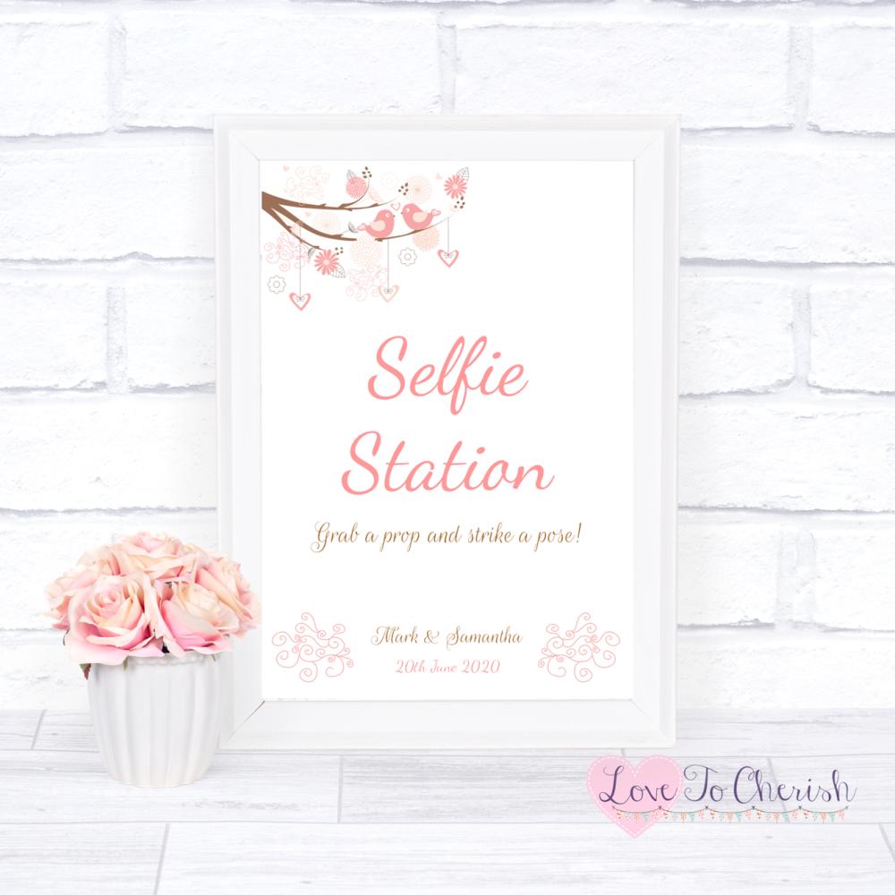 Selfie Station Wedding Sign - Shabby Chic Hearts & Love Birds in Tree   Lov