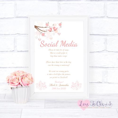 Social Media Wedding Sign - Shabby Chic Hearts & Love Birds in Tree | Love
