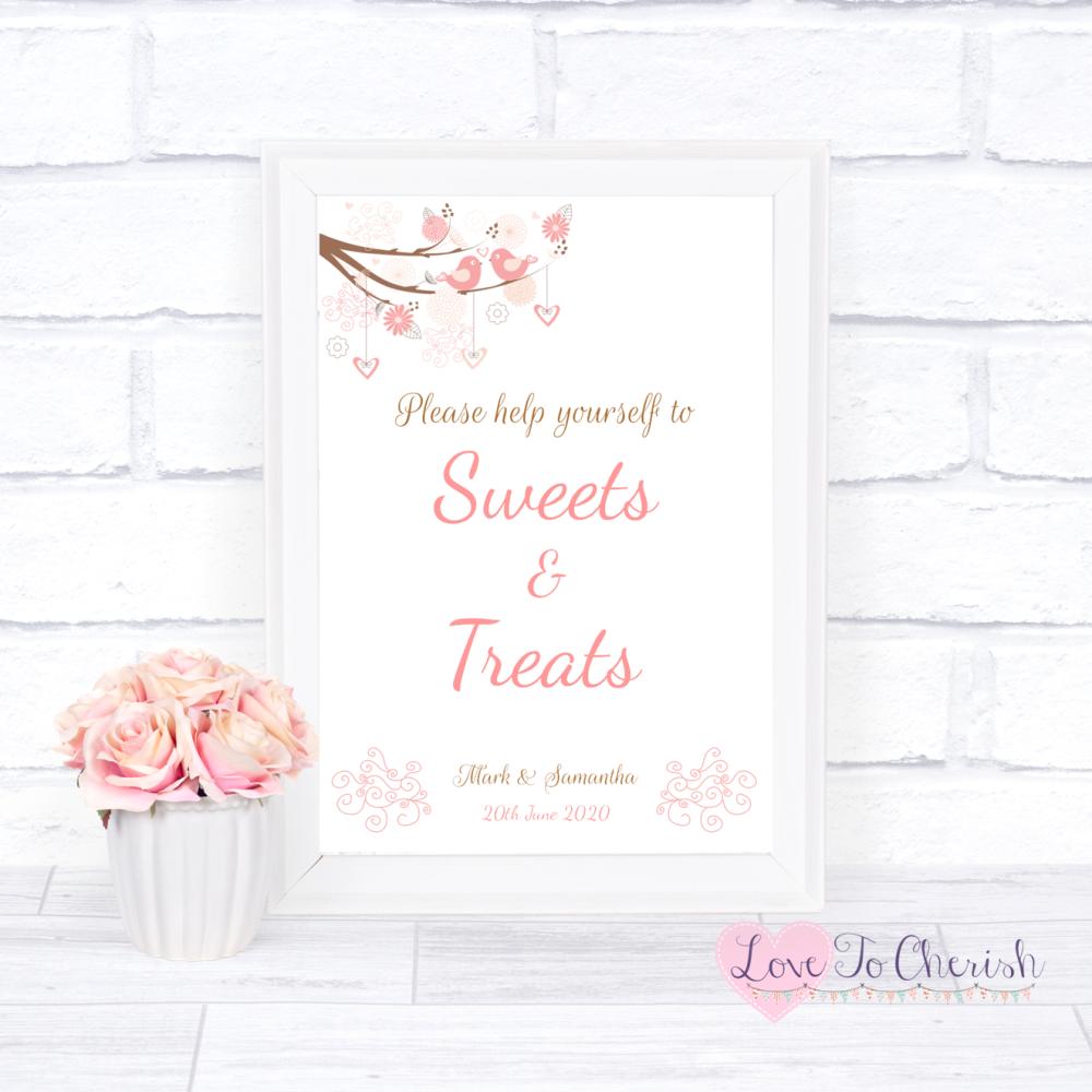 Sweets & Treats / Candy Table Wedding Sign - Shabby Chic Hearts & Love Bird