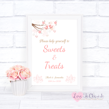 Shabby Chic Hearts & Love Birds in Tree - Sweets & Treats - Candy Table Wedding Sign
