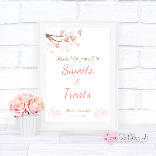 Sweets & Treats / Candy Table Wedding Sign - Shabby Chic Hearts & Love Bird