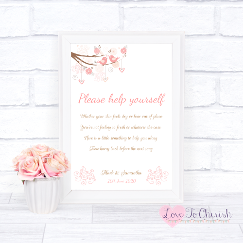 Toiletries/Bathroom Refresh Wedding Sign - Shabby Chic Hearts & Love Birds