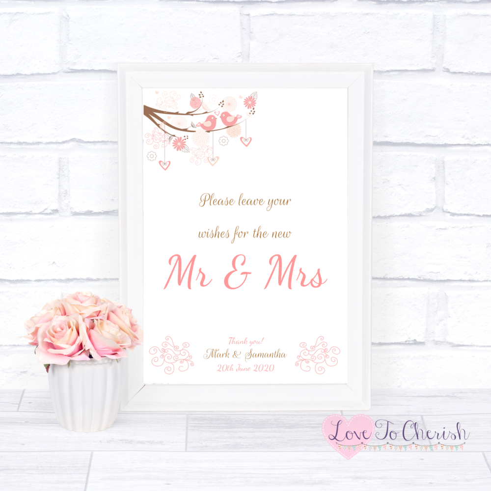 Wishes for the Mr & Mrs Wedding Sign - Shabby Chic Hearts & Love Birds in T