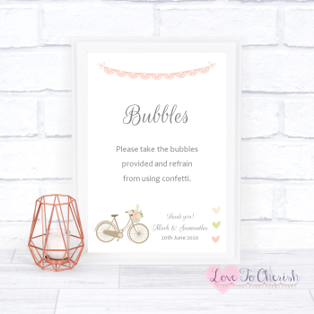 Vintage Bike/Bicycle Shabby Chic Pink Lace Bunting - Bubbles - Wedding Sign