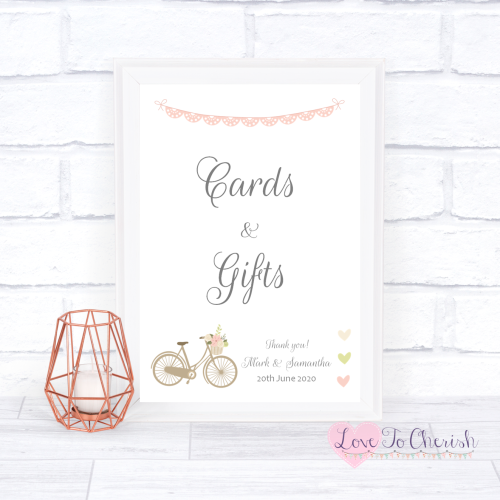 Cards & Gifts Wedding Sign - Vintage Bike/Bicycle Shabby Chic Pink Lace Bun