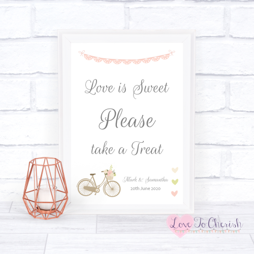 Love Is Sweet / Candy Table Wedding Sign - Vintage Bike/Bicycle Shabby Chic