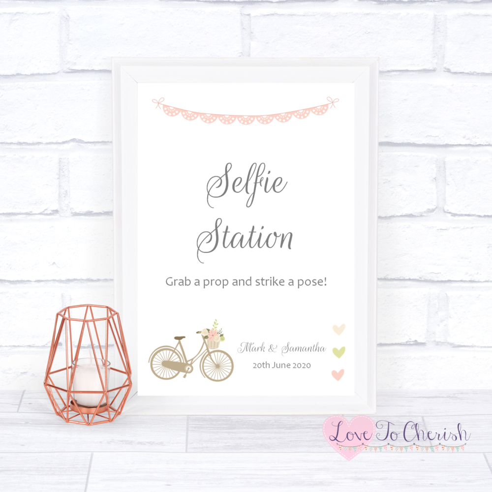 Selfie Station Wedding Sign - Vintage Bike/Bicycle Shabby Chic Pink Lace Bu