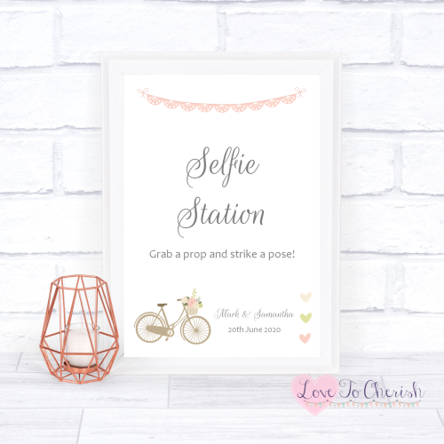 Selfie Station Wedding Sign - Vintage Bike/Bicycle Shabby Chic Pink Lace Bu