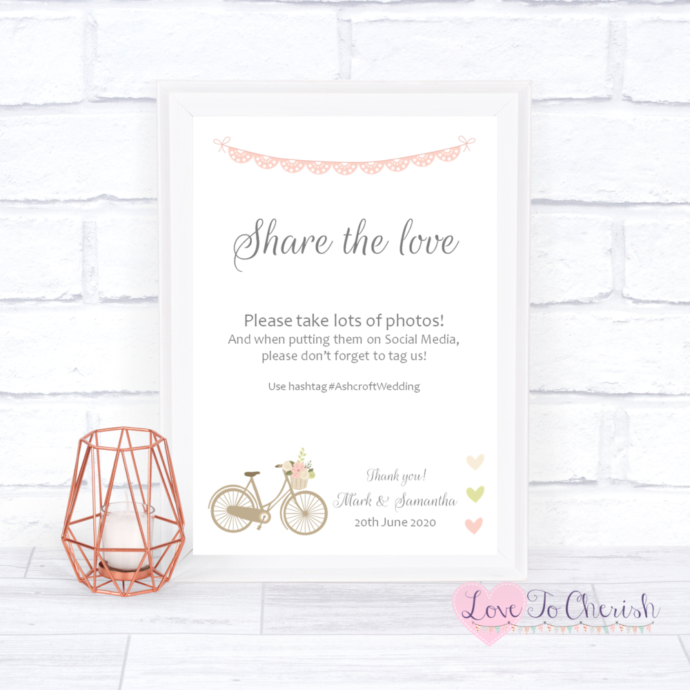 Share The Love / Photo Sharing Wedding Sign - Vintage Bike/Bicycle Shabby C