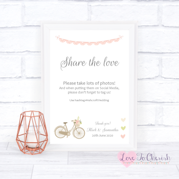 Vintage Bike/Bicycle Shabby Chic Pink Lace Bunting - Share The Love - Photo Sharing - Wedding Sign