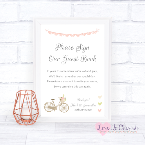 Sign Our Guest Book Wedding Sign - Vintage Bike/Bicycle Shabby Chic Pink La