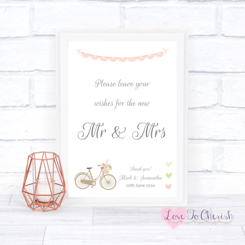 Wishes for the Mr & Mrs Wedding Sign - Vintage Bike/Bicycle Shabby Chic Pin