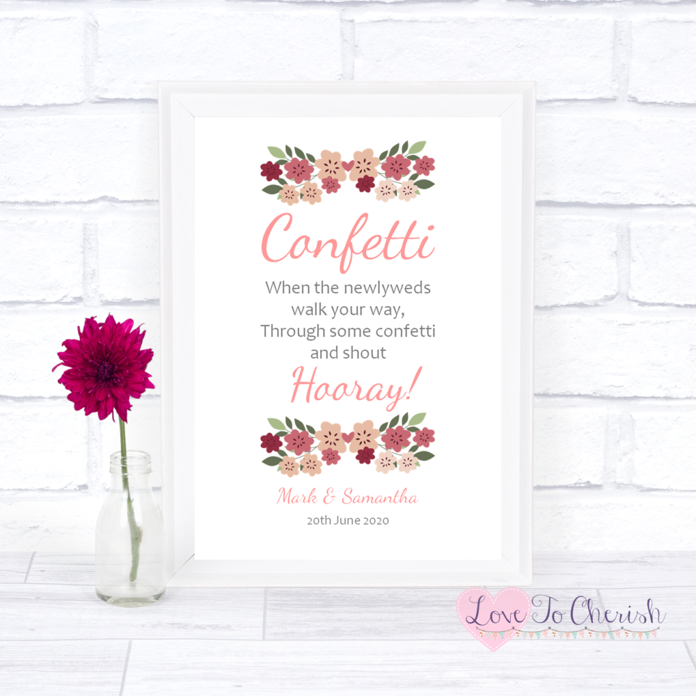 Confetti Wedding Sign- Vintage Floral/Shabby Chic Flowers   Love To Cherish
