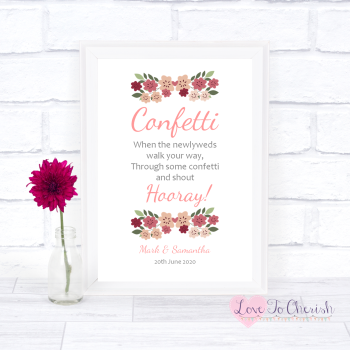 Vintage Floral/Shabby Chic Flowers - Confetti - Wedding Sign