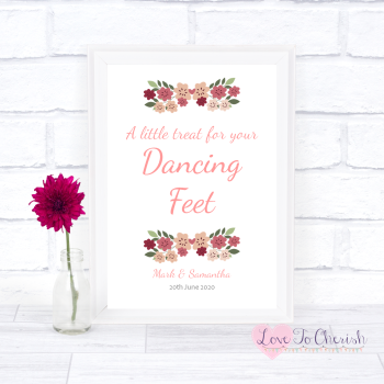 Vintage Floral/Shabby Chic Flowers - Dancing Feet  - Wedding Sign