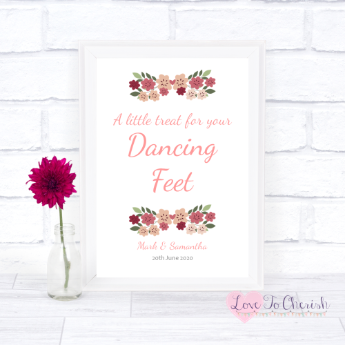 Dancing Feet / Flip Flops Wedding Sign - Vintage Floral/Shabby Chic Flowers