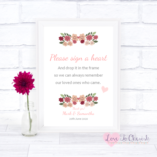 Sign A Heart Wedding Sign - Vintage Floral/Shabby Chic Flowers | Love To Ch