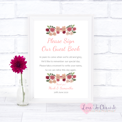 Sign Our Guest Book Wedding Sign - Vintage Floral/Shabby Chic Flowers   Lov