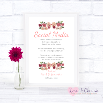 Vintage Floral/Shabby Chic Flowers - Social Media - Wedding Sign