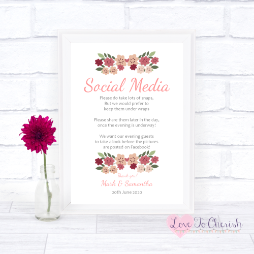 Social Media Wedding Sign- Vintage Floral/Shabby Chic Flowers | Love To Che