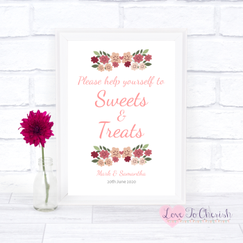 Vintage Floral/Shabby Chic Flowers - Sweets & Treats - Candy Table Wedding Sign