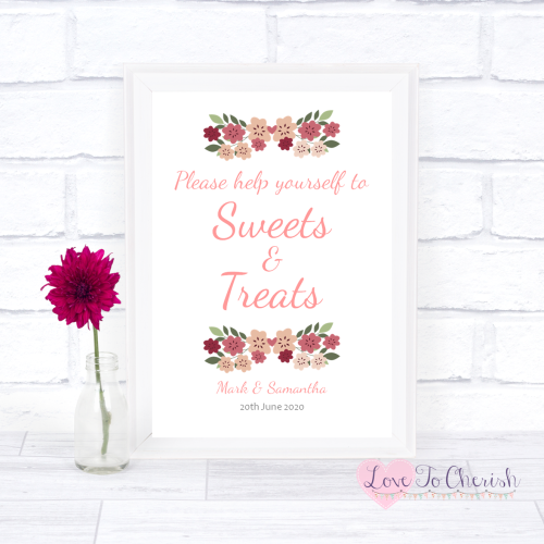 Sweets & Treats / Candy Table Wedding Sign - Vintage Floral/Shabby Chic Flo