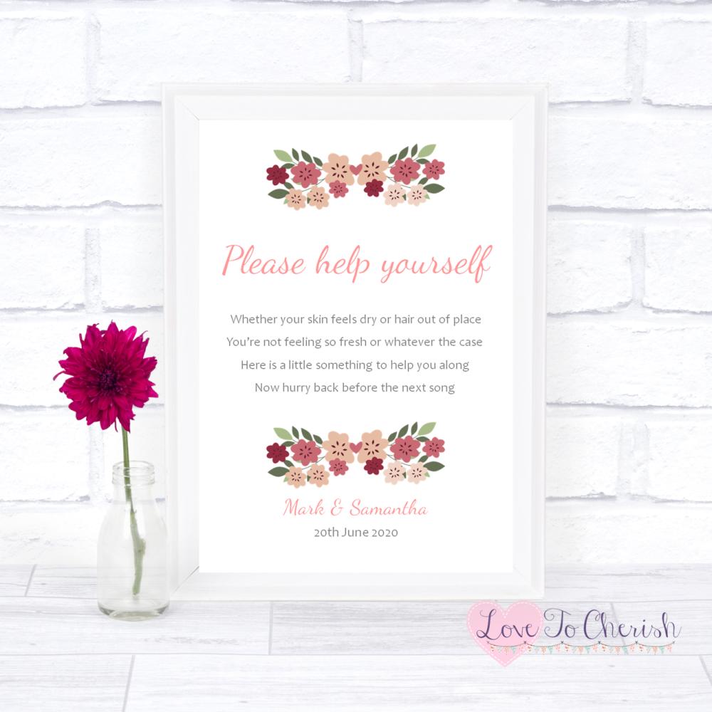 Toiletries/Bathroom Refresh Wedding Sign - Vintage Floral/Shabby Chic Flowe