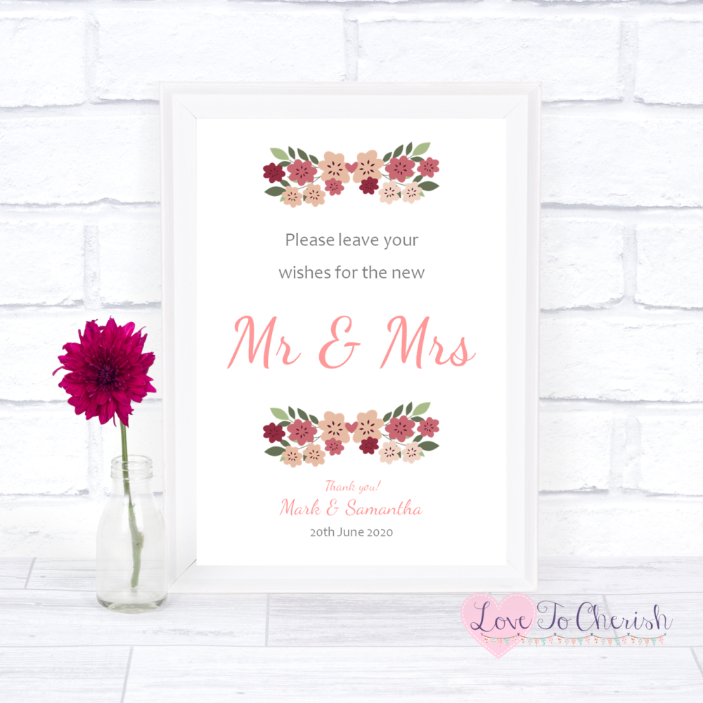 Wishes for the Mr & Mrs Wedding Sign - Vintage Floral/Shabby Chic Flowers |