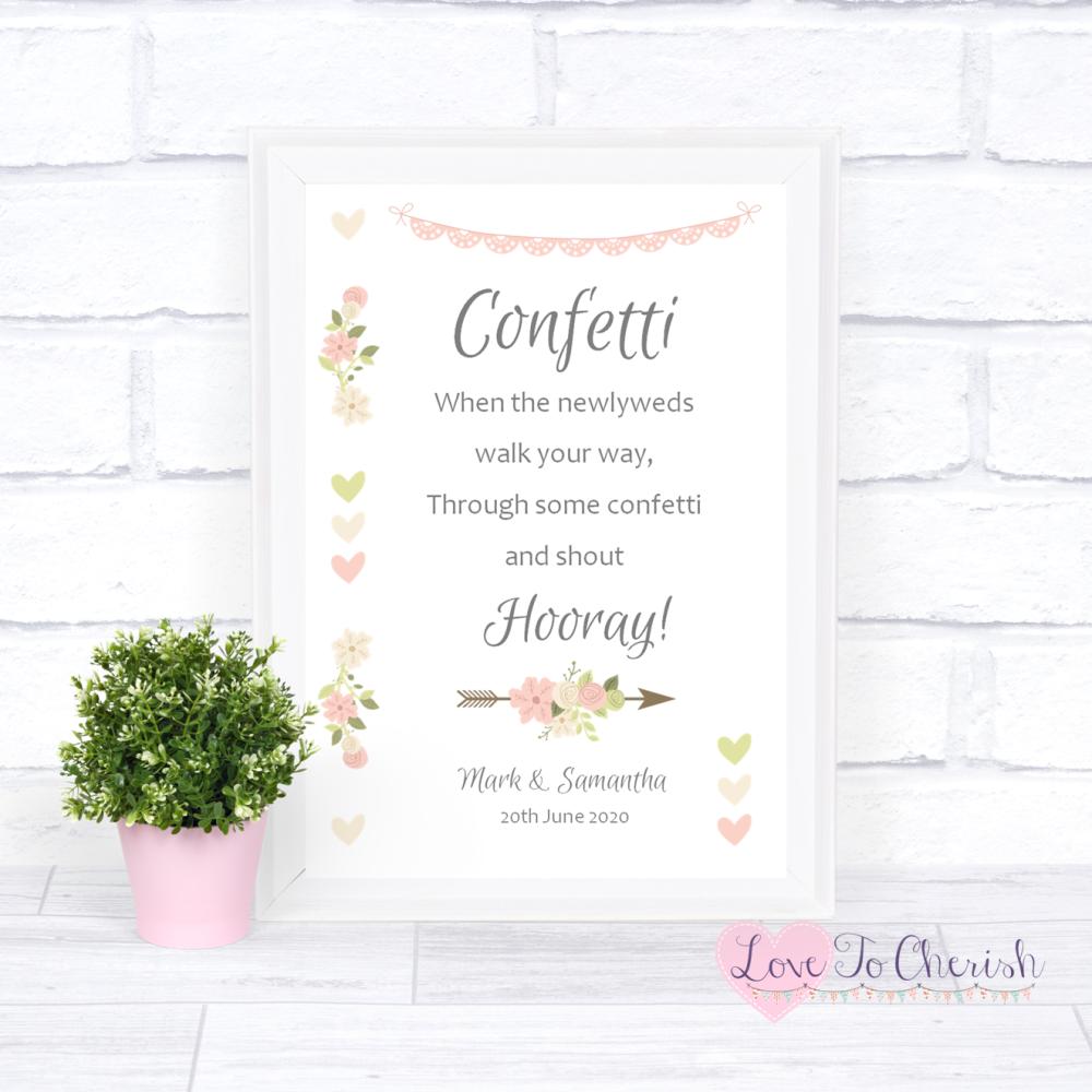 Confetti Wedding Sign - Vintage Flowers & Hearts | Love To Cherish