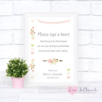 Vintage Flowers & Hearts - Sign A Heart - Wedding Sign