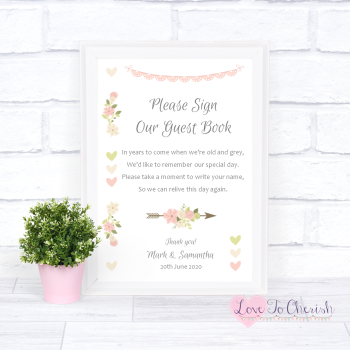 Vintage Flowers & Hearts - Sign Our Guest Book - Wedding Sign