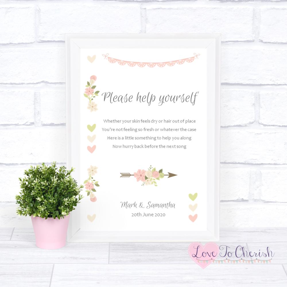 Toiletries/Bathroom Refresh Wedding Sign- Vintage Flowers & Hearts   Love T