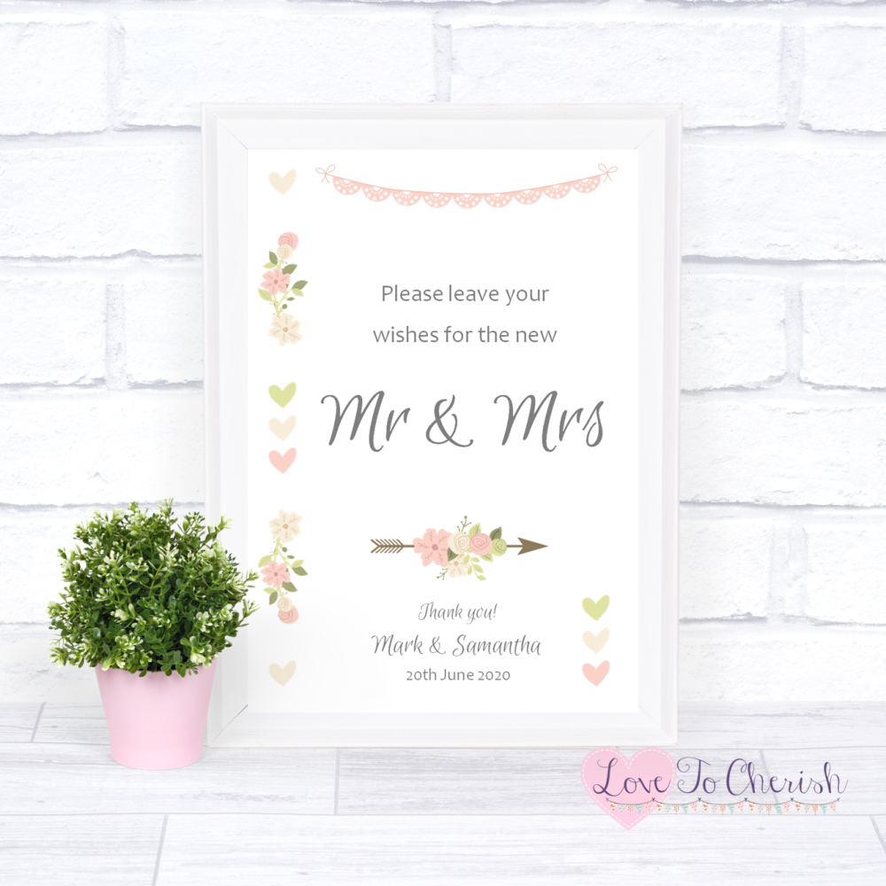 Wishes for the Mr & Mrs Wedding Sign - Vintage Flowers & Hearts   Love To C