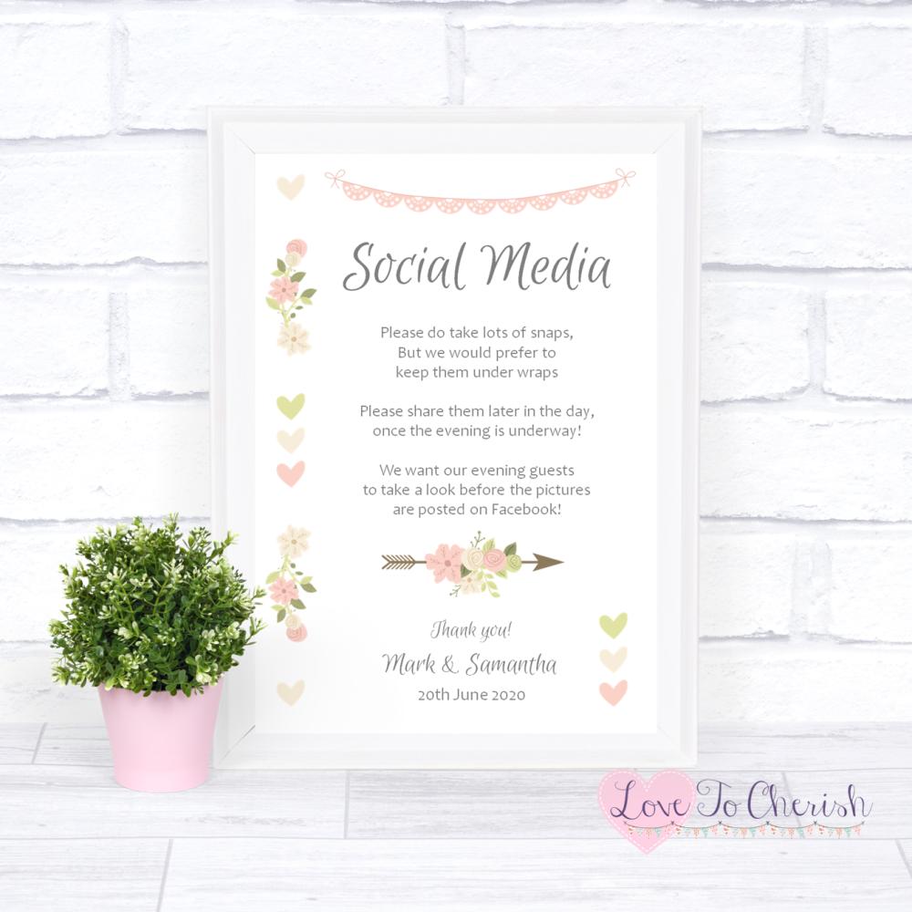 Social Media Wedding Sign - Vintage Flowers & Hearts | Love To Cherish