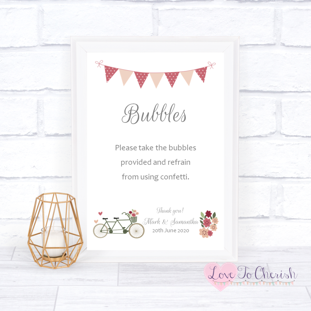 Bubbles Wedding Sign - Vintage Tandem Bike/Bicycle Shabby Chic | Love To Ch