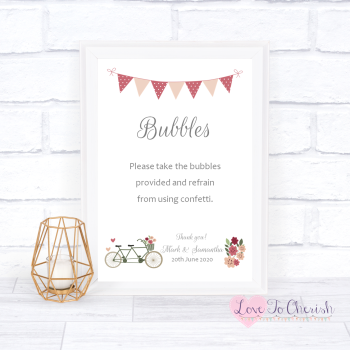 Vintage Tandem Bike/Bicycle Shabby Chic - Bubbles - Wedding Sign