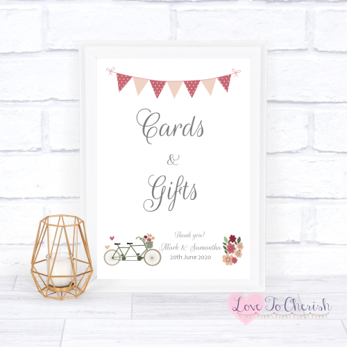 Cards & Gifts Wedding Sign - Vintage Tandem Bike/Bicycle Shabby Chic | Love