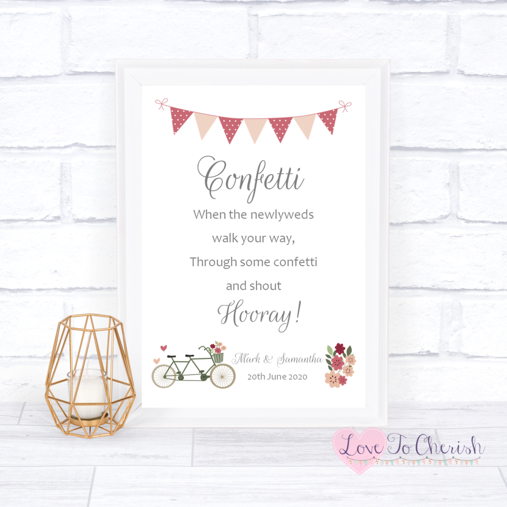 Confetti Wedding Sign - Vintage Tandem Bike/Bicycle Shabby Chic   Love To C
