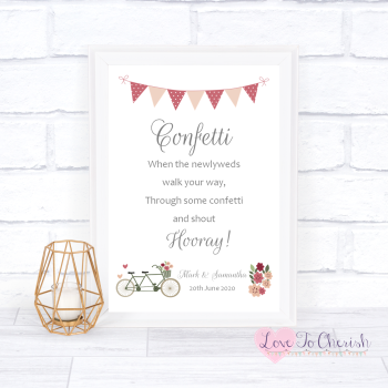 Vintage Tandem Bike/Bicycle Shabby Chic - Confetti - Wedding Sign